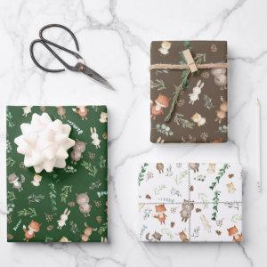 Cute Woodland Animals Forest Greenery Baby Shower Wrapping Paper Sheets