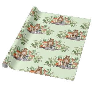 Cute Woodland Animals Greenery Forest Party Wrapping Paper