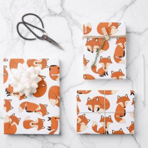 Cute Woodland Autumn Forest Fox Pattern Wrapping Paper Sheets