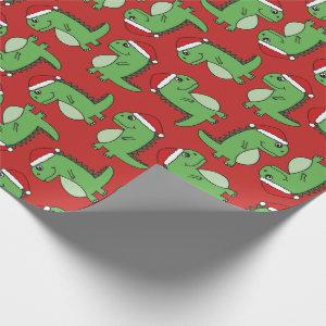 Cute Xmas Christmas Dinosaur Wrapping Paper