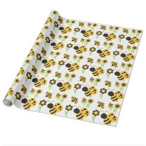 Cute Yellow and Black Bumble Bees Wrapping Paper