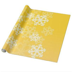 Cute yellow and white Christmas snowflakes
