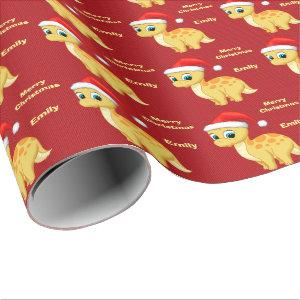 Cute Yellow Baby Dinosour with Santa Hat Wrapping Paper