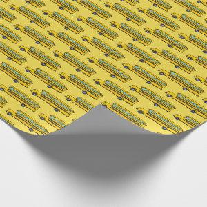 Cute Yellow School Bus Pattern  Wrapping Paper