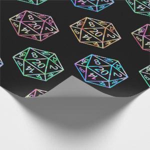 D20 Pattern | Iridescent Fantasy Role Player Dice Wrapping Paper