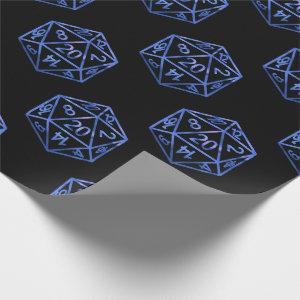 D20 RPG Pattern | Blue Fantasy Tabletop Gamer Dice Wrapping Paper
