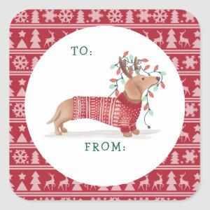 Dachshund Christmas Dog Cozy Red Knitted Sweater Square Sticker