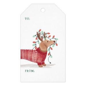 Dachshund Christmas Dog Cozy Sweater With Lights Gift Tags