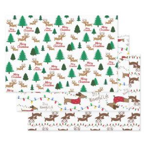 Dachshund Christmas Plaid Gift Wrap Wrapping Paper