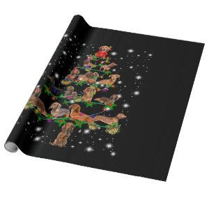 Dachshund Christmas Tree Covered By Flashlight Wrapping Paper