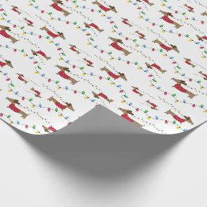 Dachshund Christmas Tree Lights Wrapping Paper