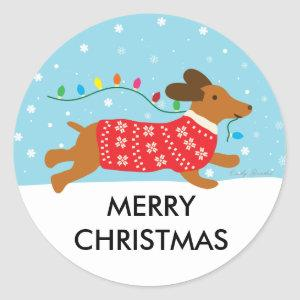 Dachshund Dog in the Snow Merry Christmas Classic Round Sticker