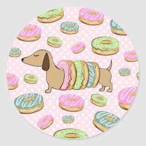 Dachshund & Donuts Party Stickers