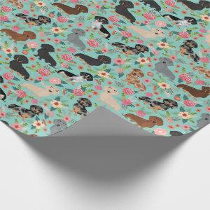 dachshund floral vintage florals mint wrapping paper