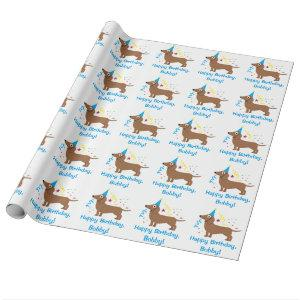 Dachshund Happy Birthday Name Customizable Wrapping Paper