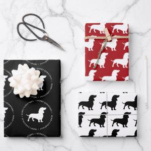 Dachshund Pattern Merry Christmas Wrapping Paper Sheets