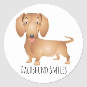 Dachshund Puppy Dog Smiles, Hello, Thinking of You Classic Round Sticker