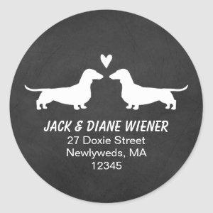 Dachshund Silhouettes with Heart Return Address Classic Round Sticker