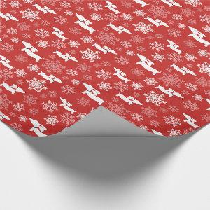 Dachshund Snowflakes Red Wrapping Paper Christmas