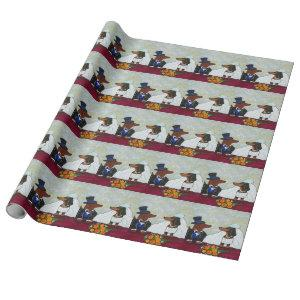 Dachshund Wedding Wrapping Paper