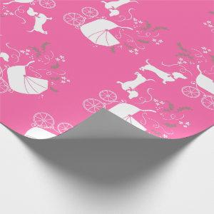 Dachshund Wiener Dog Baby Shower Pink Girl Wrapping Paper