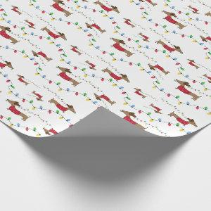 Dachshund With Christmas Lights Wrapping Paper
