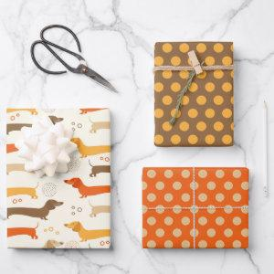 Dachshunds and Polka Dots Wrapping Paper Set