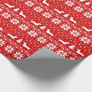 Dachshunds Christmas Sweater Wiener Dogs Pattern Wrapping Paper