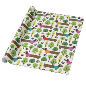 Dachshunds On A Walk In The Park Wrapping Paper