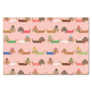 Dachshunds on Pink Tissue Paper