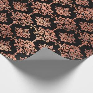 Damask Coral Copper Black Metallic Royal Floral Wrapping Paper