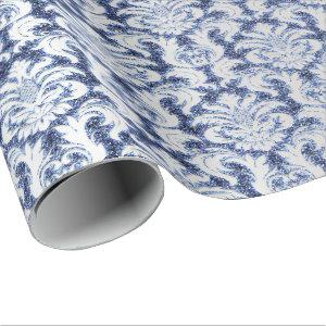 Damask Glitter  Silver Gray Royal Sapphire Blue Wrapping Paper