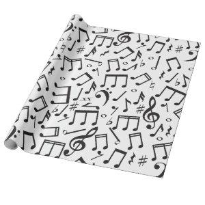 Dancing Notes in Black & White Wrapping Paper