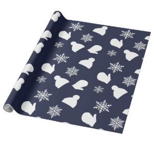 Dark Blue Holiday Mittens and Christmas Hats Wrapping Paper