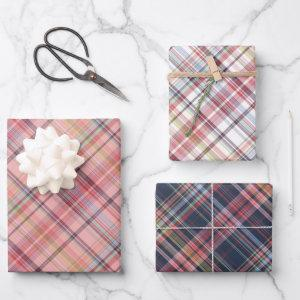 Dark Blue Light Blush Coral Pink Red White Plaid Wrapping Paper Sheets