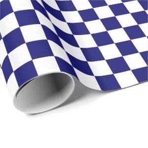 Dark Navy Blue and White Checkered Wrapping Paper