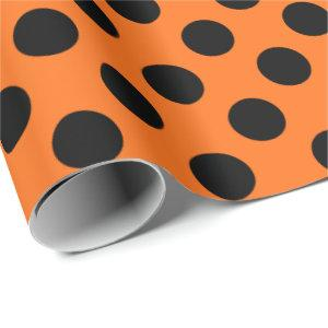 Dark Orange with Black Polka Dots Wrapping Paper