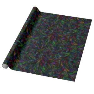 Dark Rainbow Feather Swirl Wrapping Paper