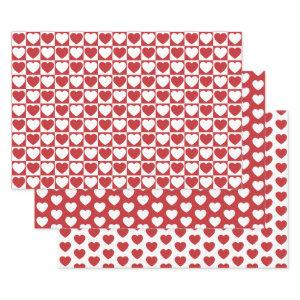 Dark Red and White Hearts Wrapping Paper Sheets