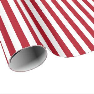 Dark Red and White Stripe Wrapping Paper