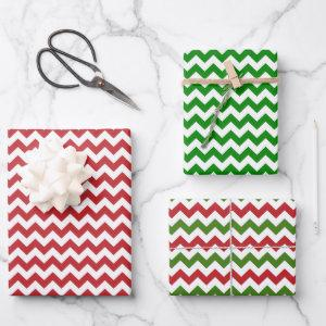 Dark Red, Green and White Chevron Wrapping Paper Sheets