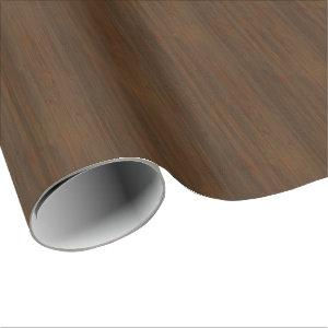Dark Walnut Brown Bamboo Wood Grain Look Wrapping Paper