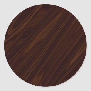 Dark Wood Texture Classic Round Sticker