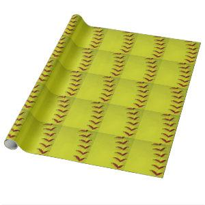 Dayglo Yellow Softball Wrapping Paper
