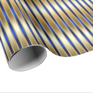 Dazzling Shiny Gold and Royal Blue Stripes Wrapping Paper