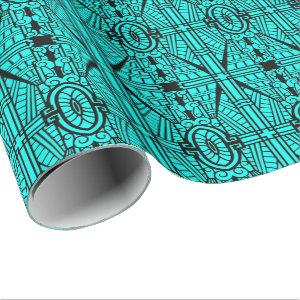 Deco Architectural Pattern, Turquoise and Black Wrapping Paper