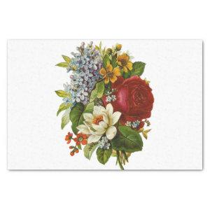 Decoupage Vintage Red Rose and Flowers Bouquet Tissue Paper
