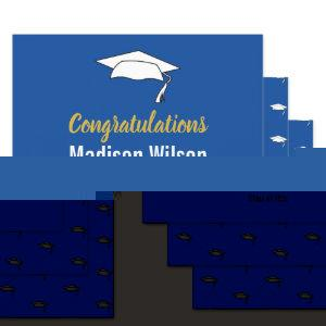 Deep Blue and White Graduation Congratulations Wrapping Paper Sheets