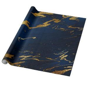 Deep Earth Gold Marble Blue Navy Wrapping Paper