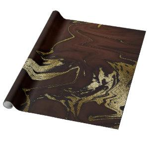 Deep Earth Gold Marble Brown Abstract Wrapping Paper